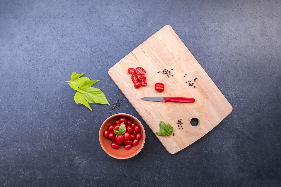 Vegetables, Tomatoes, Cherry, Cutting Board, Sliced