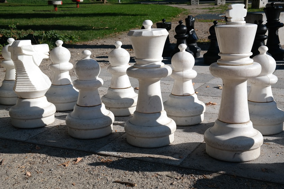 King, Lady, White, Playing Field, Chess, Chess Board