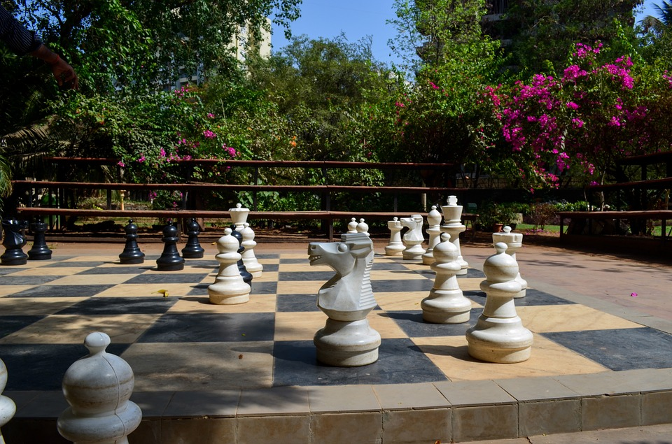 Chess, Chess Board, Game, Outdoors, Strategy, Play