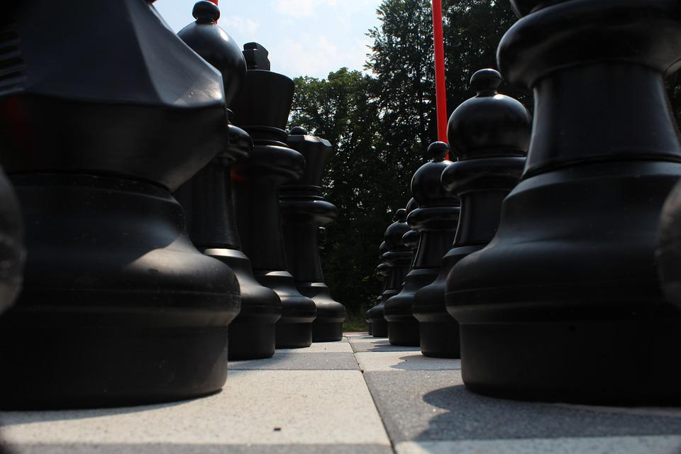 Chess, Chess Board, Chess Pieces, Black And White