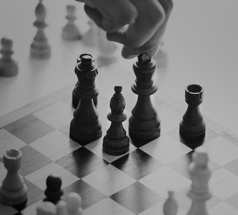 Chess, Pawn, Gameplan, Queen, Knight, Black And White