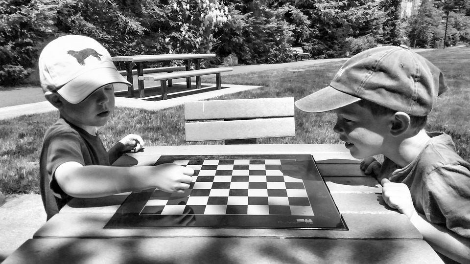 Park, Sunny, Chess, Checkers, Boys, Summer, Seattle