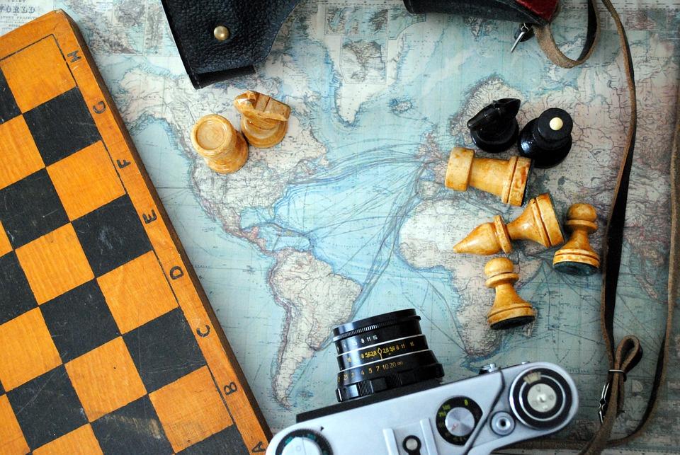 Chess, Camera, World Map