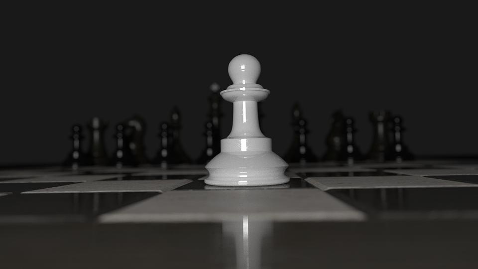 Chess, Pawn, Alone, Chessboard, White, Black