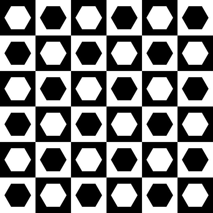 Chessboard, Hexagons, Squares, Pattern