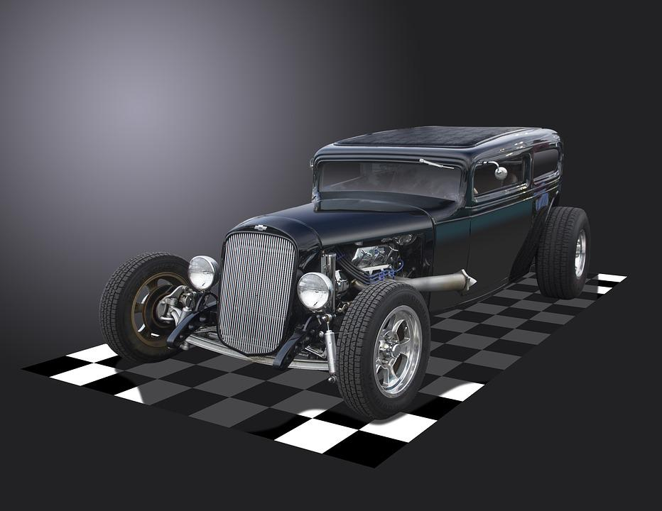 Hot Rod, Chevrolet, Chevy, Black, Coupe, Vintage