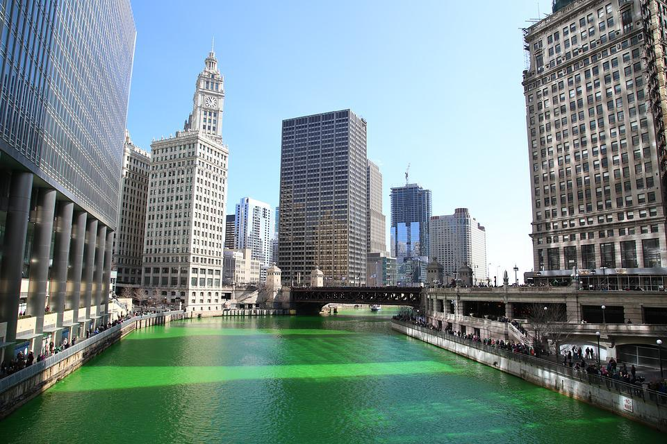 Chicago, Chicago River, St Patrick's Day, Downtown