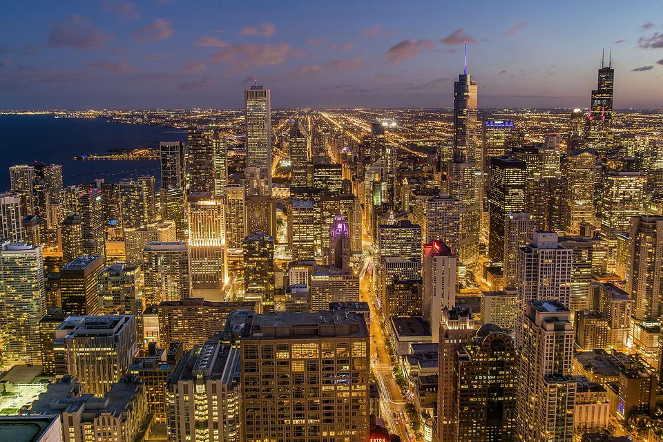 Chicago, City, Night, Usa, Architecture, Building