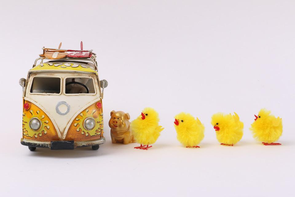 Bus, Chick, Props, Toy