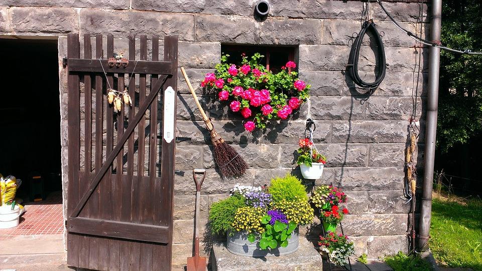Farmhouse, Barn, Stall, Chicken Coop Door, Flowers