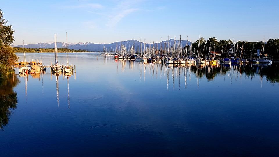 Marina, Lake, Mountains, Chiemsee, Bavaria, Alpine