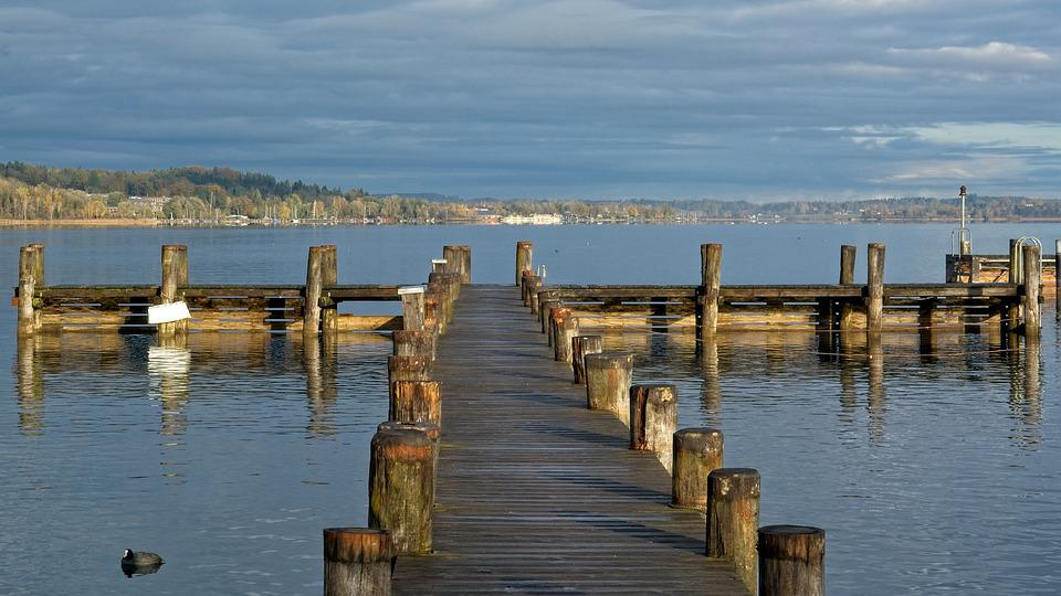 Boardwalk, Jetty, Web, Lake, Pier, Chiemsee, Dock