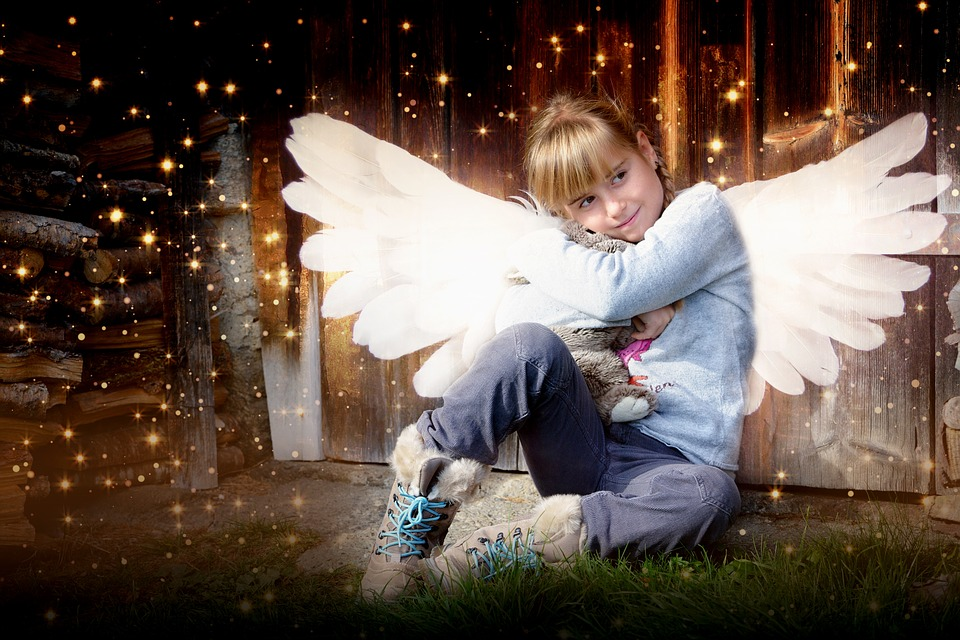 Child, Girl, Angel, Wing, Teddy Bear, Loving, Fantasy