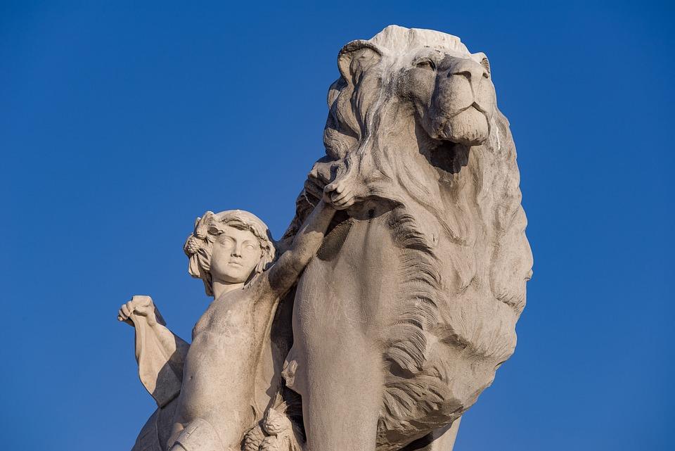 Statue, Sculpture, Lion, Child, Stone, Animal