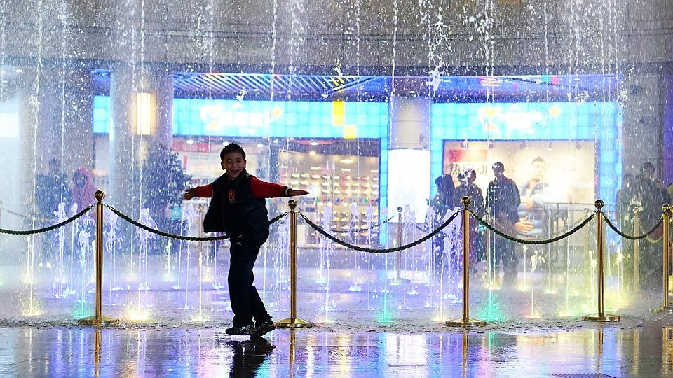 Asia, China, Child, Fountain, Silhouette