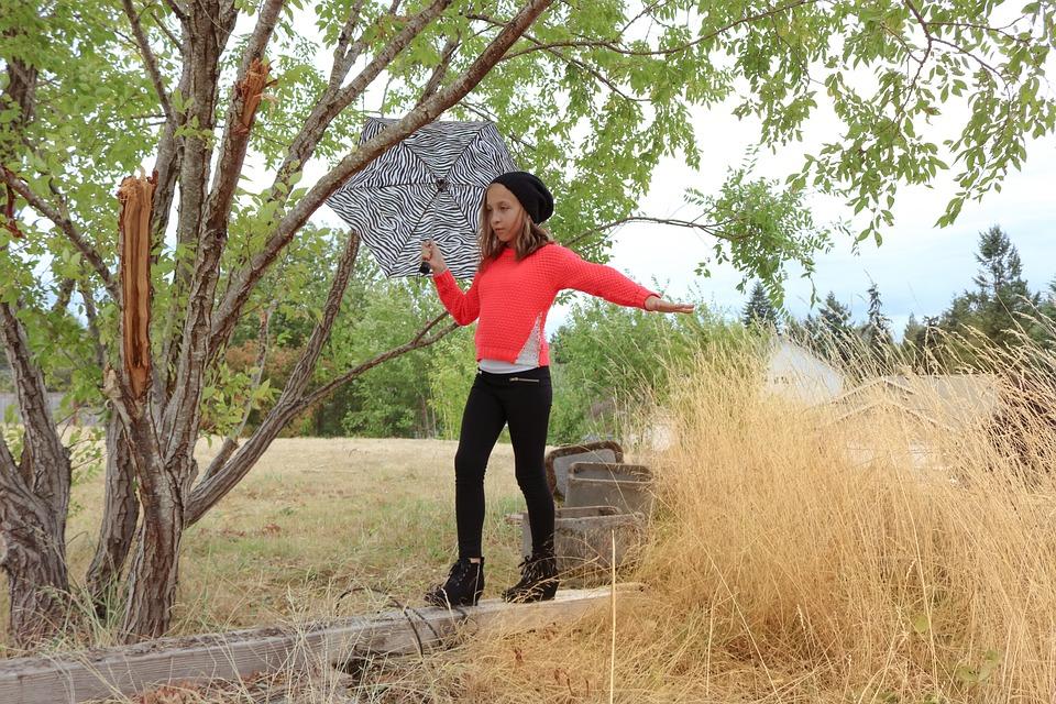 Girl, Balance, Balancing, Young, Child, Walking, Woods