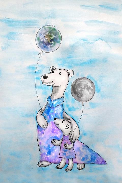 Polar Bears, Balloons, Watercolor, Mother, Kid, Child