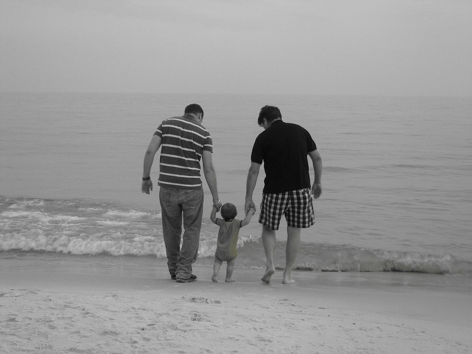 Family, Father, Beach, Child, Walking, Together