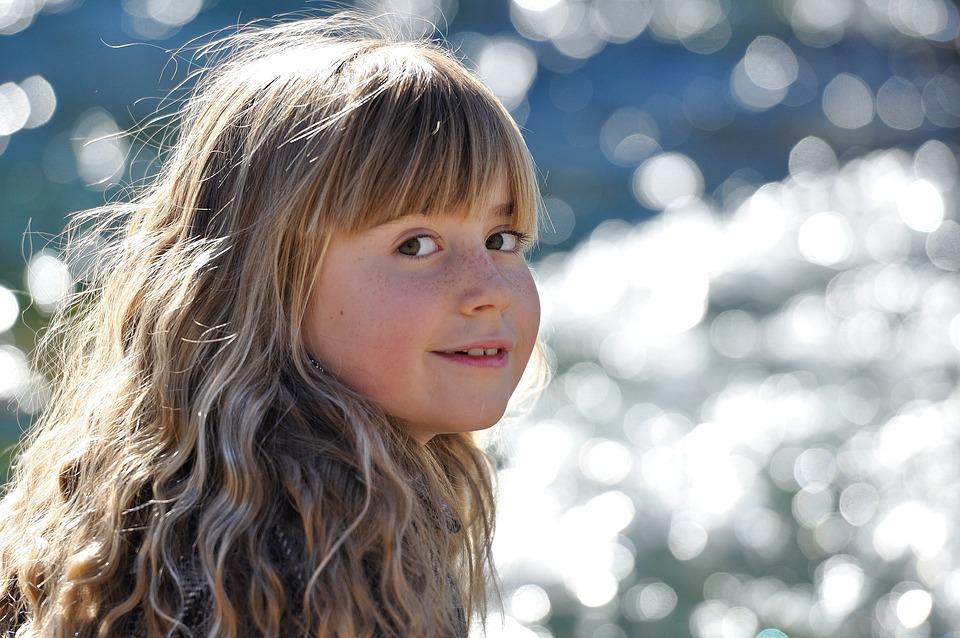 Child, Girl, Blond, Long Hair, Smile, Water
