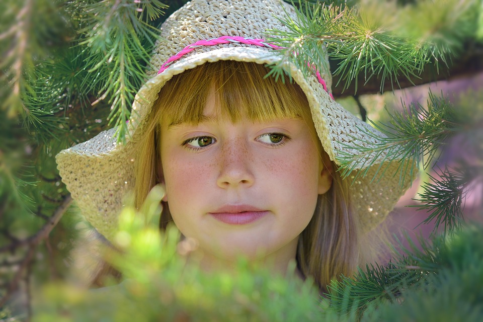 Person, Human, Child, Girl, Hat, Face, Blond, Summer