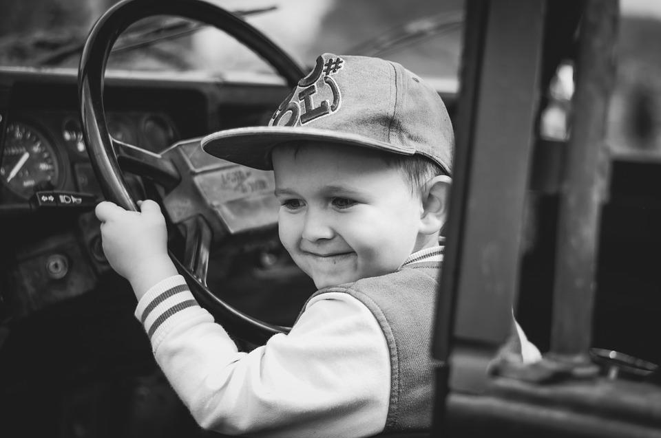 Boy, Child, Happiness, Military, Auto, Steering Wheel