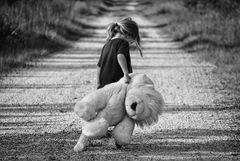 Boy, Walking, Teddy Bear, Child, Walk, Female, Happy