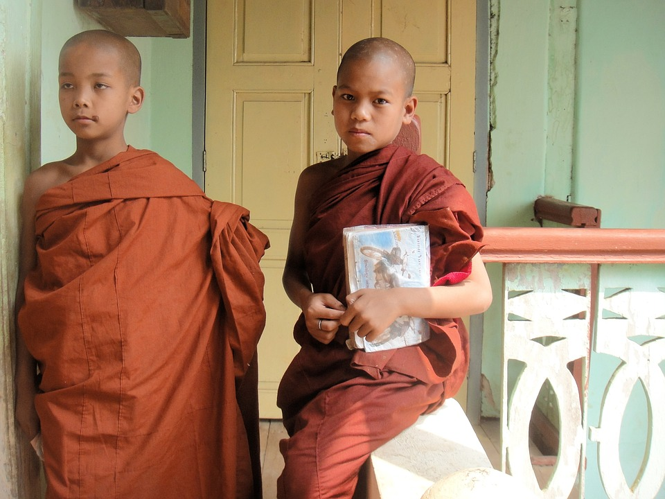 Monks, Myanmar, Religion, Buddhism, Burma, Child, Boy