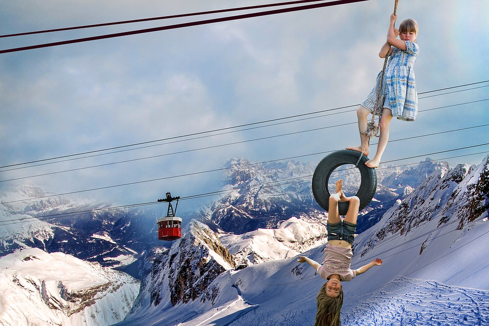 Photo Montage, Child, Mountain, Cable Car, Acrobatics