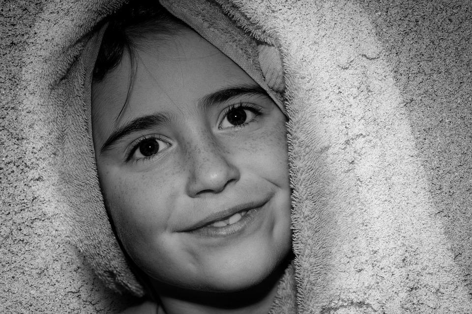 Child, Girl, Face, Smile, Portrait, Close, Towel