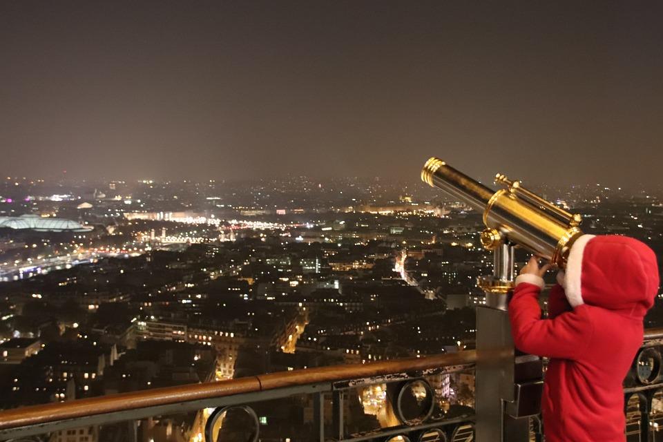 Paris, Eiffel Tower, Child, Night, Magic, Monoculars
