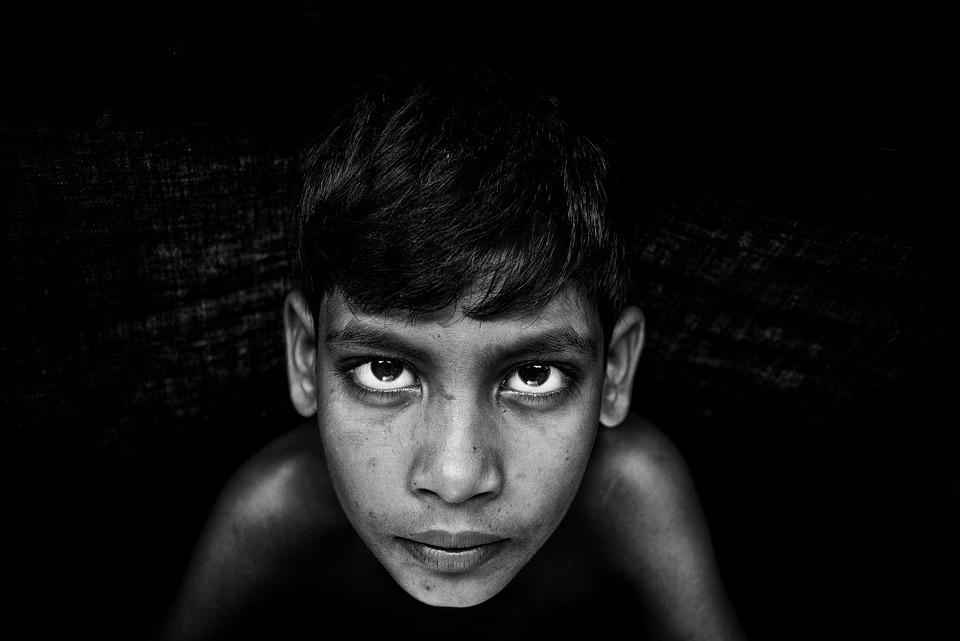 Black And White, Boy, Child, Face, Portrait, Eyes