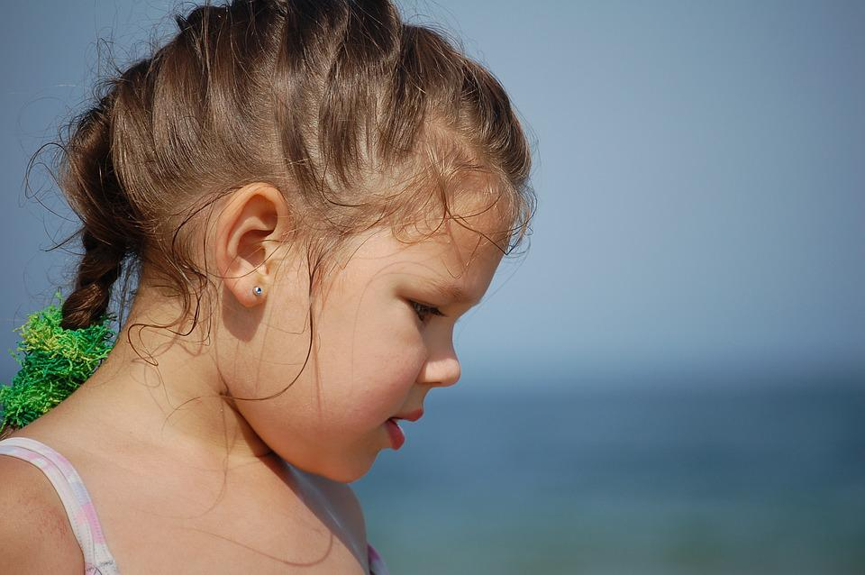 Girl, Beach, Face, Child