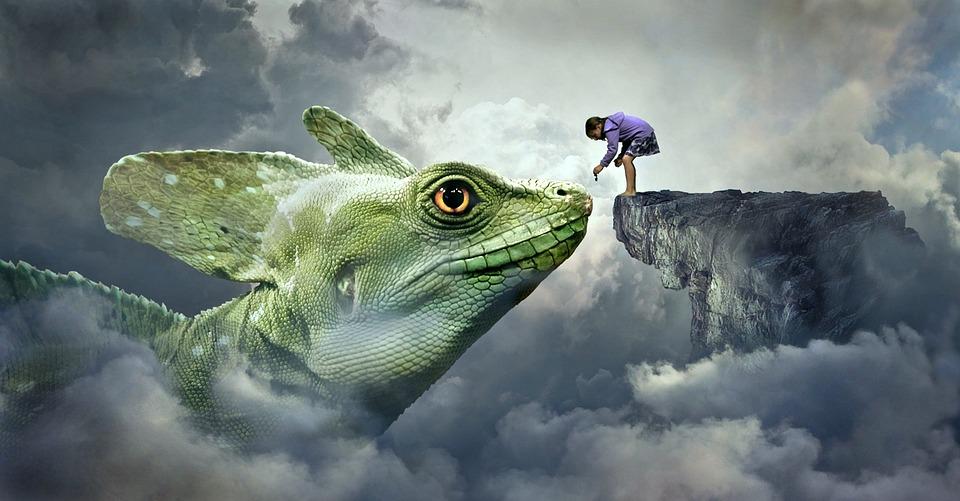 Fantasy, Dragons, Lizard, Feed, Child, Girl, Feeding