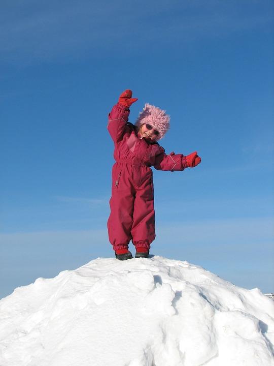 Child, Winter, Snow, Blue, White, Finnish, Sky