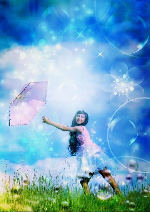 Girl, Child, Bubbles, Princess, Umbrella, Portrait