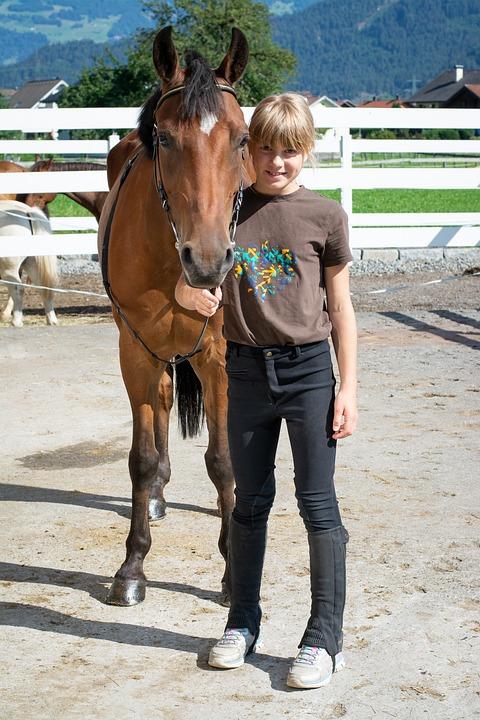 Child, Girl, Horse, Pony, Ride, Equestrian, Friend