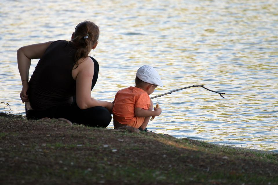 Child, Boy, Woman, Mother, Lake, Water, Stick