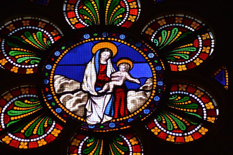 Stained Glass, Colorful, Woman, Child, Mary, Jesus