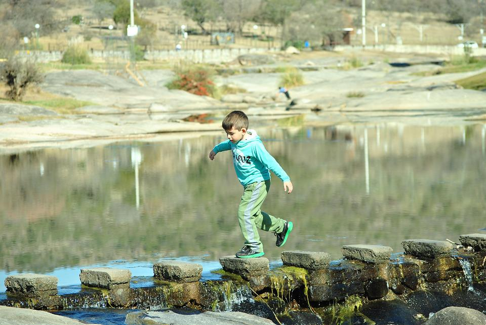 Child, River, Jump, Nature, Water, Childhood, Games