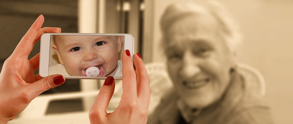 Smartphone, Face, Woman, Old, Baby, Young, Child, Youth