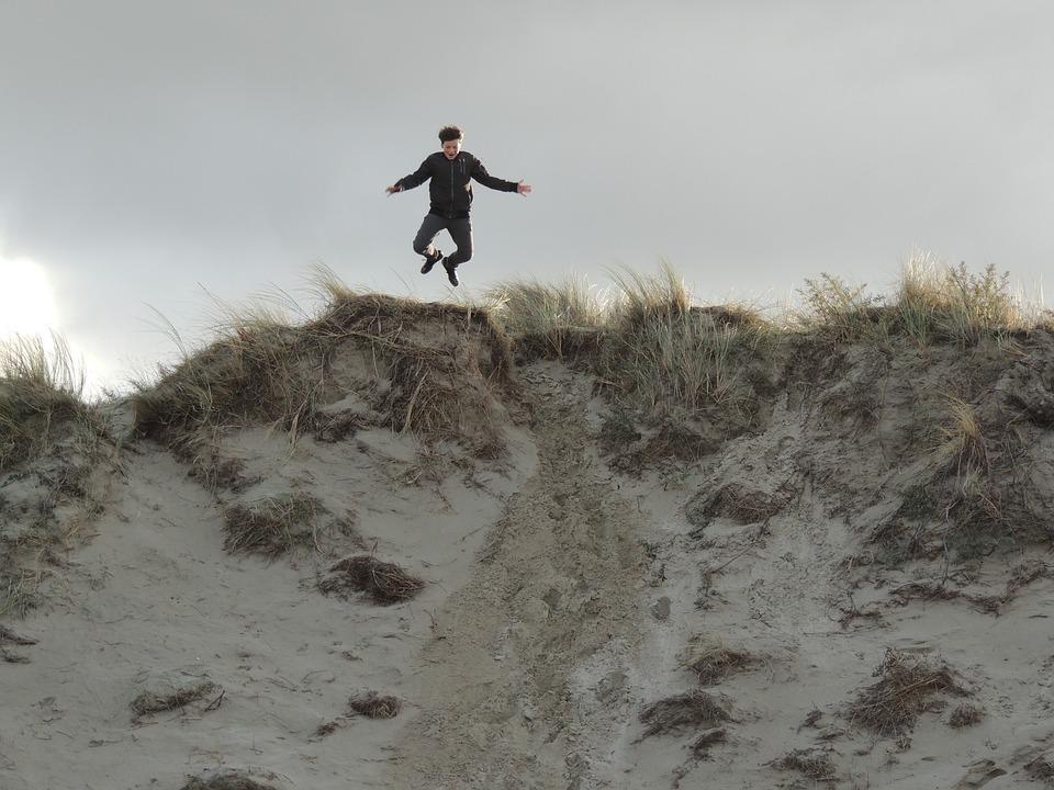 Jump, Child, Play, Boy, Dunes, Sand, Outdoor, Texel