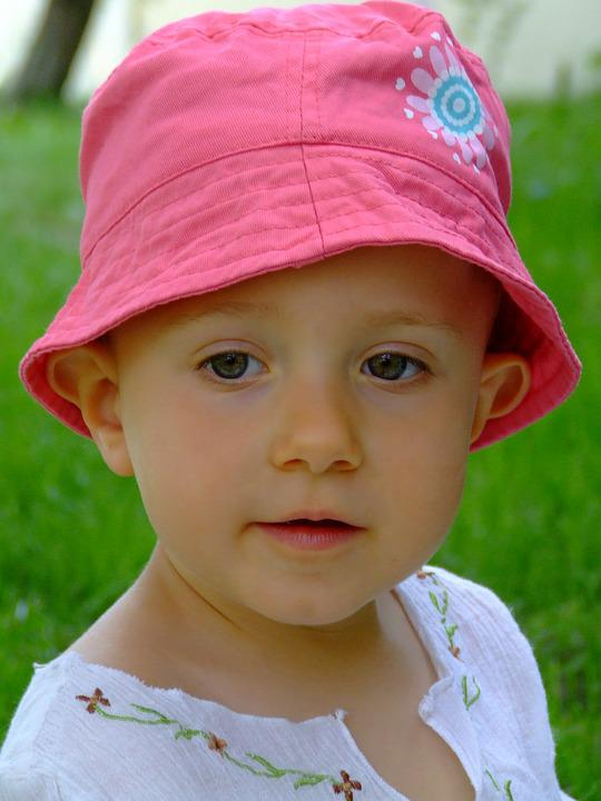 Child, Pink Cap, Face, Beautiful