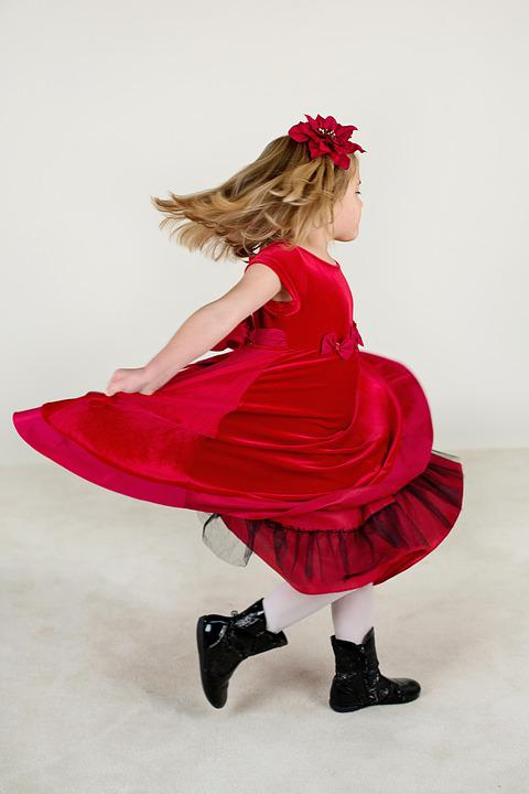 Little Girl, Running, Red Dress, Happy, Child, Girl