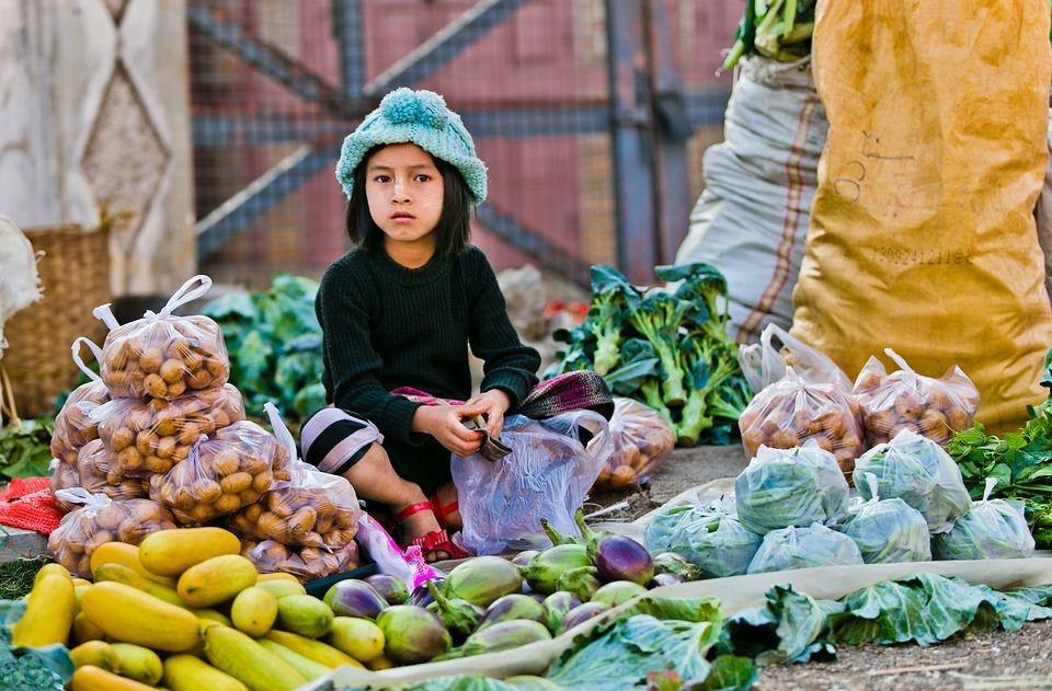 Morning Market, Child Selling, Myanmar, Market, Asia