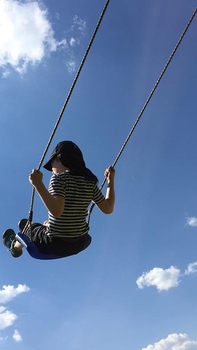 Swing, Child, Sky, Sky Blue, Clouds, Fun, Joy