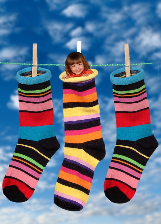 Socks, Colorful, Stockings, Clothes Line, Girl, Child