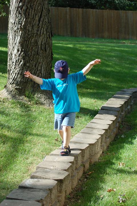 Stone Wall, Child, Kid, Walking, Balancing, Balance