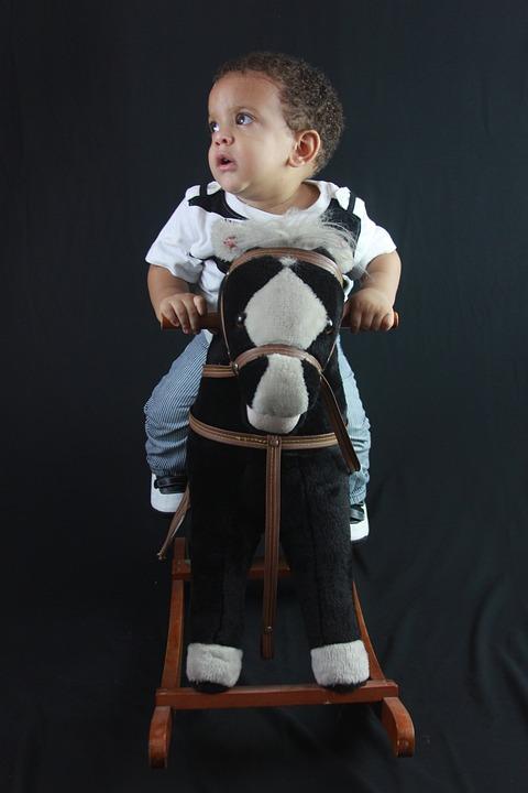 Baby, Child, Guy, Son, Happy, Toy Horse, Model, Studio