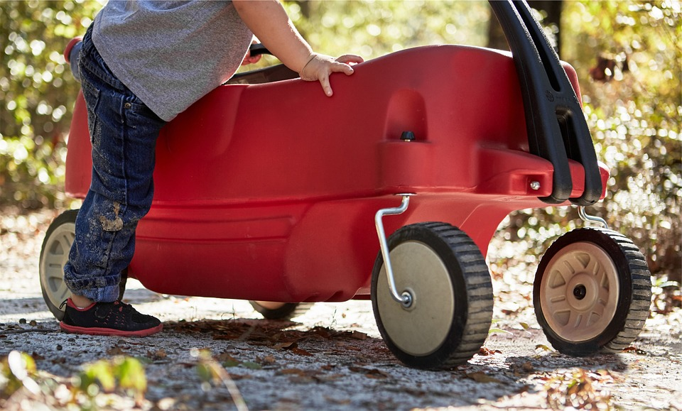Red, Wagon, Boy, Child, Kid, Playing, Fun