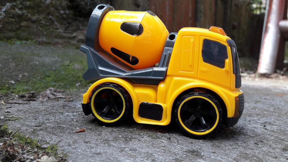 Toy Car, Concrete, Vehicle, Toy, Yellow, Child, Asphalt
